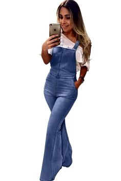 Aleumdr Women's Casual Denim Bib Cropped Overalls Pant Jeans Strength Retro Washed Flared Jeans Jumpsuit(S-XL) Denim Dungarees, Jeans Jumpsuit, Trouser Jeans, Women's Jeans, Denim Pants, Skinny Jeans, Best Jeans For Women, Slacks For Women, Warm Pants