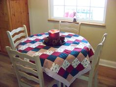 My patchwork tablecloth..I love patchwork tablerunners, place mats, etc..