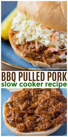 Our Pulled Pork recipe is a keeper! This a bbq pulled pork slow cooker recipe that you can make hours before dinner time for a quick and easy dinner. We love making pulled pork sandwiches, and we always serve bbq pulled pork with coleslaw! Grill Sandwich, Sandwich Au Porc, Bbq Pork Sandwiches, Dinner Sandwiches, Pulled Pork Recipe Slow Cooker, Pulled Pork Recipes, Slow Cooker Recipes, Crockpot Recipes, Bbq Pulled Pork Crockpot