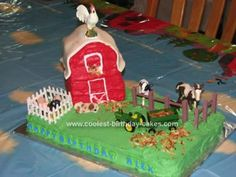 Homemade Barnyard Cake: After finding farm birthday decorations online, I decided my mother and I (mostly my mother) should take on a barnyard cake complete with a 3-D barn for