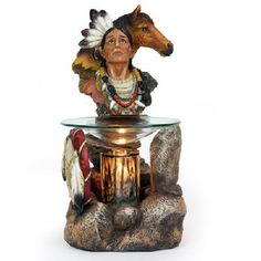 Polyresin Electric Oil/Tart Warmer - Native American Native American Headdress, Rustic Western Decor, Tart Warmer, Oil Warmer, Candle Warmer, Candle Lanterns, Candles, Native Indian, Glass Dishes
