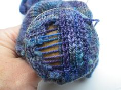 """How could I make it look like knitting? I wondered. I came up with what I thought was brilliance and thought I would write a tutorial to show you all my really super awesome new darning technique. I decided to call it """"duplicate stitch darning"""". Knitting Help, Knitting Socks, Knitting Stitches, Hand Knitting, Knitting Patterns, Knit Socks, Loom Knitting, Knitted Hats, Yarn Crafts"""