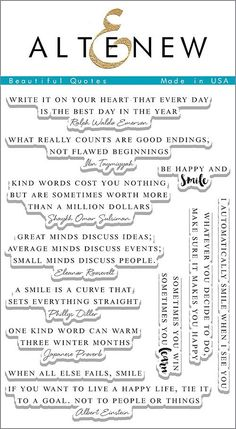 """ALTENEW: Beautiful Quotes (4""""x 6"""" Clear Photopolymer Stamp Set) This package contains Beautiful Quotes: twelve individual sentiment stamps."""
