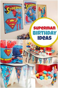 Superman-Themed Boy's Birthday Party - Spaceships and Laser Beams Superman Birthday Party, Superhero Theme Party, 4th Birthday Parties, Boy Birthday, Birthday Ideas, Batman Party, Superhero Superman, Batman Vs, 1st Birthdays