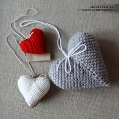 вязаные сердечки крючком