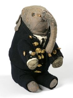 Handmade cuddly elephant, from early 20th Century. In the permanent collection at the V Museum of Childhood, London.