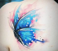 Very nice 2 colors watercolor tattoo style of Butterfly motive done by artist Kati Berinkey Watercolor Butterfly Tattoo, Butterfly Tattoo Cover Up, Butterfly Tattoo Meaning, Butterfly Tattoo On Shoulder, Butterfly Tattoos For Women, Butterfly Tattoo Designs, Shoulder Tattoos, Tattoo Flowers, Watercolor Tattoos