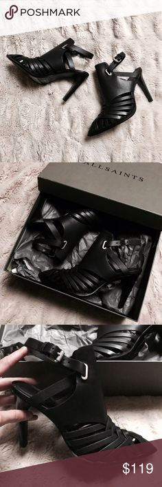 "🆕 ALL SAINTS 'tao' Black Leather Sandal Heels BRAND NEW - with box! ALL SAINTS 'tao' black leather sandal heels with silver hardware. Size EU 38, US 7. 100% leather. 3.5"" Heels. These babes are sold out everywhere - so much so that I tried to make due with buying a size smaller - but they just don't fit 😭 I'll live via carelessly through you! They retail for $360 - massive savings. Open to reasonable offers & trades. All Saints Shoes Heels"