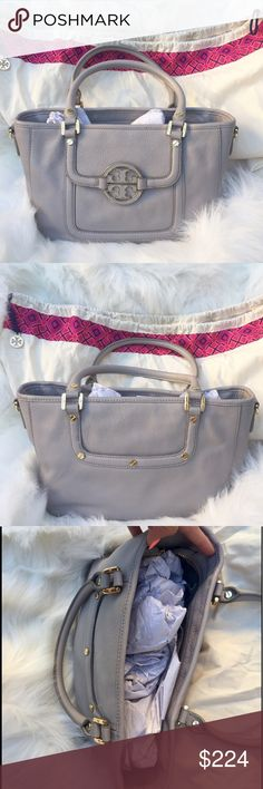 Tory Burch Amanda Mini Satchel NWOT Gorgeous Tory Burch Amanda Mini Satchel Bag NWOT  perfect for Summer ☀️ Beautiful pebbled leather, lovely grey color! Excellent handles and edges, barely used! Only selling because I want something a little bigger! Ask questions, no trades! Tory Burch Bags Satchels