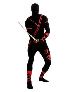 NINJA 2ND SKIN SUIT ADULT COSTUME  - Click image twice for more info - See a larger selection of men skinsuit  costumes at http://costumeriver.com/product-category/men-skinsuit-costumes/  - men, halloween costumes, halloween  , classic costume, holidays, event, trick or treat , gift ideas, costumes, disguise.