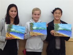 Lake Tahoe painting, by a sweet group of girls in my Sat. Kids class. Sacramento, Ca. El Camino Ave. store.