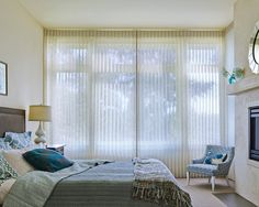 Designed to provide privacy and room darkening light control with the beauty of soft diffused translucent natural light and a chic modern styling, Hunter Douglas Luminette Privacy Sheers are a perfect window treatment for a bedroom. Indoor Blinds, Patio Blinds, Diy Blinds, Bamboo Blinds, Fabric Blinds, Curtains With Blinds, Valances, Modern Roller Blinds, Modern Blinds