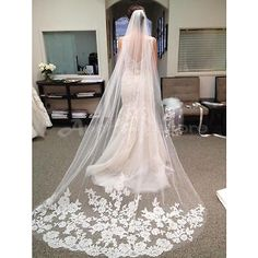 #White/ivory 3m wedding #bridal long veil church #cathedral length with comb new, View more on the LINK: http://www.zeppy.io/product/gb/2/322156649600/