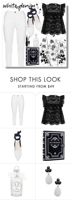 """white denim"" by gretapom ❤ liked on Polyvore featuring Zhenzi, Zimmermann, Attico, PENHALIGON'S, Rina Limor and Lancôme"