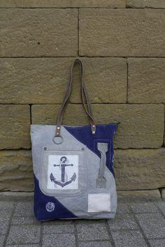 Coole Handtasche Schultertasche in Maritim-Style von Sunsa in schönen Blautönen und  Ankern.