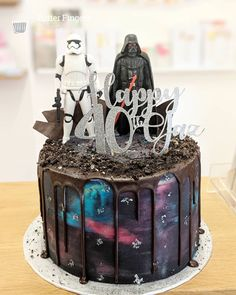 Star Wars cake for a mans birthday with galaxy buttercream Star Wars Birthday Cake, Star Wars Cake, Birthday Cakes For Men, 40th Birthday, Galaxy Cake, Fathers Day Cake, Nutella Cake, Bakery Cakes, Occasion Cakes