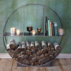 Iron Circle Log Holder store your small firewood inside, warm and dry, or keep it stylishly on hand out by your chiminea or bbq Fire Pit Accessories, Fireplace Accessories, Fireplace Logs, Fireplace Design, Wood Holder For Fireplace, Fireplaces, Outdoor Garden Furniture, Rustic Furniture, Cabin Furniture