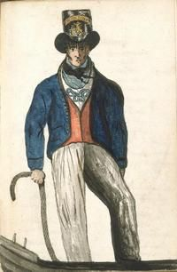 Bosun's Mate, c. 1812. Although the print shows a bosun's mate in his best shore-going rig, it does give an impression of the sort of clothes worn by sailors of the period. Bosun's mates were petty officers promoted from within the ranks by the ship's captain. They were responsible to the ship's boatswain for the supervision of the seamen in their everyday duties about the ship and practical seamanship. They were also responsible for the punishment of the men in the form of flogging.