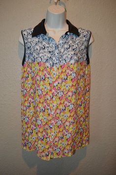 $565 NWOT Sz 6 Yigal Azrouel Floral Ikat Gorgette Sleeveless Leather Trim Blouse #YigalAzroueumll #Blouse #Casual