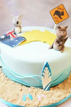 Australian Themed Cake with Kangaroo & Koala topper