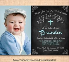 This is a printable Boys Baptism Invitation. Chalkboard style with blue and mint color scheme.    ❤ THIS IS A PRINTABLE FILE  NO PHYSICAL