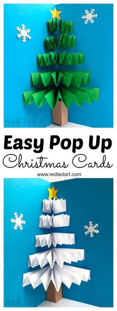 Easy Pop Up Christmas Card - LOVE these 3d Paper Fan Christmas Tree Cards. How cute are they? Working with concertina paper folding techniques, this is a quick and easy card to make for the holidays. Love both the traditional Christmas Tree and white Winter Tree Card versions.  #PopUpChristmasCards #ChristmasTreeCard #ChristmasCardIdeas