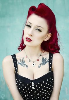 Edgy Rockabilly Hair and Makeup inspiration:: Vintage Hairstyles:: Rockabilly Pin Up:: Winged eyeliner