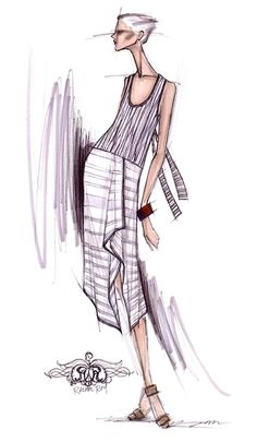 "A sketch from Rachel Roy's Spring 2012 collection, which she describes as ""Colonial Vietnam: old world, romantic, refined simplicity"". Sketch: Courtesy of Rachel Roy"