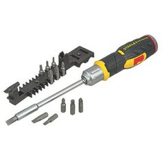 #FatMax Stanley FatMax Multi-Bit Ratchet Screwdriver 3452F #High quality, 3-position ratcheting screwdriver with fixed, forward and reverse action. Pistol-grip position for comfort and higher torque. Includes 6 x screwdriver bits and internal storage.