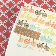 Thank You Cards - Fun Pop Hued Bicycles on Cream -