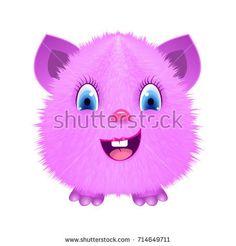 Pink cartoon fluffy monster. Raster copy.
