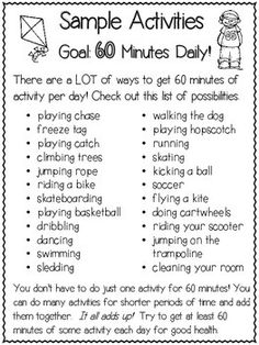 kids nutrition Support and encourage your students to get sixty minutes of physical activity per day and eat a well-balanced diet! Use this weekly physical activity and nutrition log f Physical Education Activities, Elementary Physical Education, Elementary Pe, Pe Activities, Nutrition Activities, Baby Education, Science Education, Nutrition Classes, Kids Nutrition