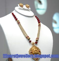 Jewellery Designs: Designer Necklace with Pearls and Ruby beads