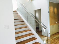 Stainless steel handrail and glass railing Stainless Steel Handrail, Glass Railing, Railings, Stairs, Modern, Design, Home Decor, Stainless Steel Railing