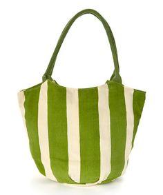 Green Cabana Stripe Bucket Bag by rockflowerpaper #zulily #zulilyfinds