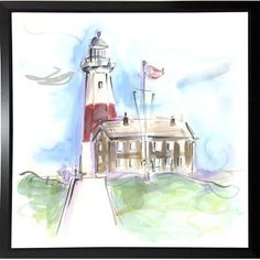 Highland Dunes 'Montauk Lighthouse' Print Format: Black Plastic Framed Paper