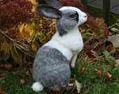 2012 TOBY Award OOAK Needle felted Alpaca Life Size Gray & White Bunny Rabbit Poseable  Free shipping