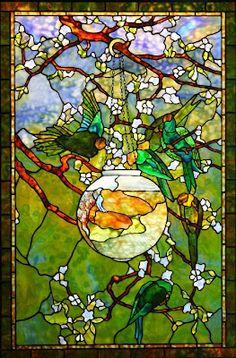 """Parakeet and Fish Bowl"" Tiffany window by Century Studios"