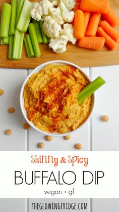 Skinny & Spicy Buffalo Dip that's low fat, vegan and gluten free! Perfect for game days, appetizers or snacks. Works great as a spread on a sandwich or wrap. Creamy, spicy and ready in 5 minutes. From The Glowing Fridge.