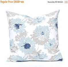 15% Off Sale Throw Pillow Covers Blue and Tan by CompanyTwentySix