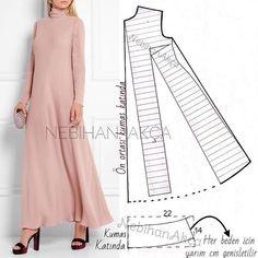 ― N E B İ H A N A K Ç Aさん( 「Hiç demiyorsunuz sırada kalıp var diye☺️ ▪️Temel elbise kalıbı üzerinde model uyarlaması. Hijab Style, Abaya Style, Dress Sewing Patterns, Clothing Patterns, Pattern Sewing, Long Dress Patterns, Fashion Sewing, Diy Fashion, Origami Fashion