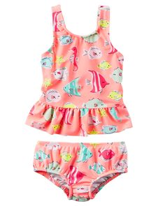 Baby Girl Carter's Fish Ruffle Swimsuit | Carters.com