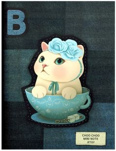 Jetoy Choo Choo Cat Mini Notebook: Blue Rose