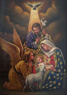 The Holy Family. A portrait of the love of the Holy Trinity: made in His image. Catholic Art, Catholic Saints, Religious Art, Blessed Mother Mary, Blessed Virgin Mary, Christmas Scenes, Christmas Nativity, The Nativity, Jesus Tattoo