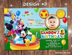 Mickey Mouse Clubhouse Swim Splash Slide Birthday Party Photo Invitations Inflatable Pool - Printable