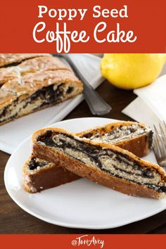 Poppy Seed Coffee Cake Recipe - Tender, flaky yeast bread with poppy seed filling and a sweet lemon glaze for a delicious snack or dessert for Sukkot. Time-tested family recipe from site contributor Kelly Jaggers. | ToriAvey.com #poppyseed #coffeecake #breakfast #brunch