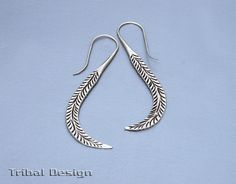 Karen Hill Tribe Hand Engraved Pure Silver - Curving Peacock Tail Thai Tribal Earrings on Etsy, $21.00