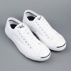 Converse Jack Purcell shoes in white canvas with the trademark smile on a12e39b3a