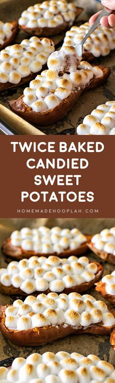 Twice Baked Candied Sweet Potatoes! Try a winter classic in a new way: sweet potatoes sweetened with brown sugar, cinnamon, and nutmeg, then twice baked in potato halves. | HomemadeHooplah.com