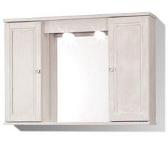 Specchiera bianco decapè cm 92 x 16 x 63 h con illuminazione e presa rasoio con ante in legno